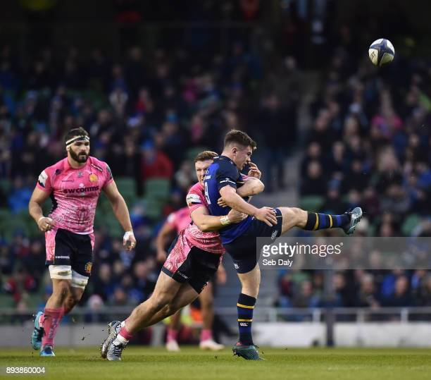 Dublin Ireland 16 December 2017 Luke McGrath of Leinster is tackled by Sam Simmonds of Exeter Chiefs during the European Rugby Champions Cup Pool 3...