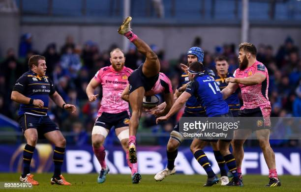 Dublin Ireland 16 December 2017 Olly Woodburn of Exeter Chiefs falls to the ground after collecting the ball during the European Rugby Champions Cup...