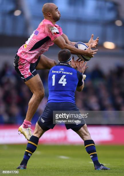 Dublin Ireland 16 December 2017 Olly Woodburn of Exeter Chiefs in action against Fergus McFadden of Leinster during the European Rugby Champions Cup...