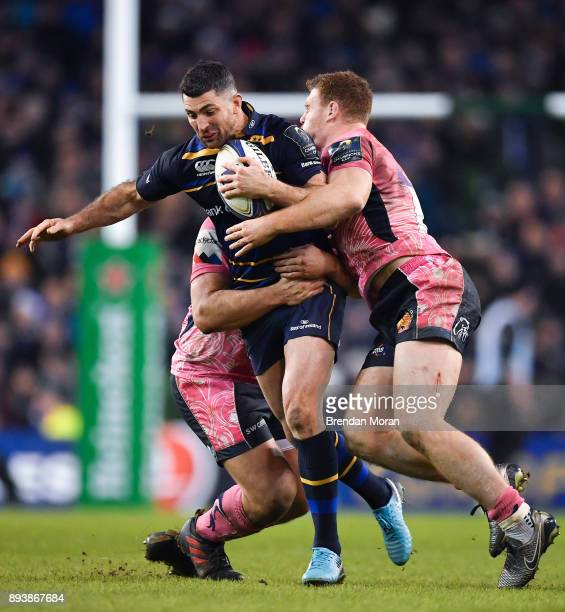 Dublin Ireland 16 December 2017 Rob Kearney of Leinster is tackled by Tomas Francis behind and Sam Simmonds of Exeter Chiefs during the European...