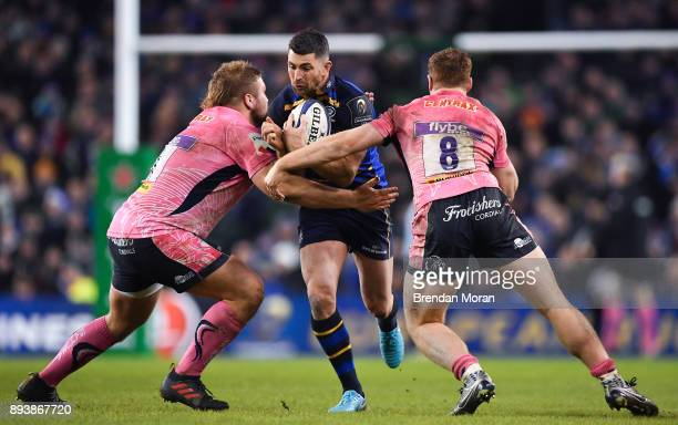 Dublin Ireland 16 December 2017 Rob Kearney of Leinster is tackled by Tomas Francis left and Sam Simmonds of Exeter Chiefs during the European Rugby...