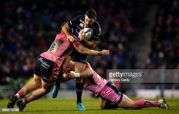 Dublin Ireland 16 December 2017 Rob Kearney of Leinster is tackled by Sam Simmonds left and Jack Yeandle of Exeter Chiefs during the European Rugby...