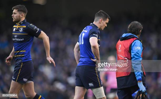 Dublin Ireland 16 December 2017 Ross Byrne left replaces Jonathan Sexton of Leinster during the European Rugby Champions Cup Pool 3 Round 4 match...