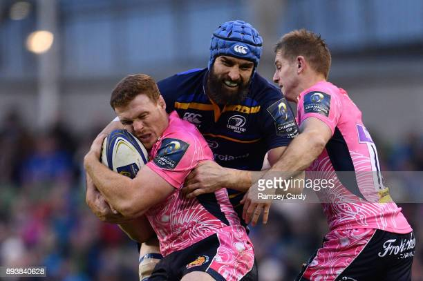 Dublin Ireland 16 December 2017 Sam Simmonds of Exeter Chiefs is tackled by Scott Fardy of Leinster during the European Rugby Champions Cup Pool 3...