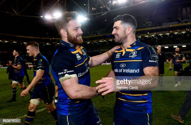 Dublin Ireland 16 December 2017 Sean O'Brien left and Rob Kearney of Leinster celebrate their victory following the European Rugby Champions Cup Pool...