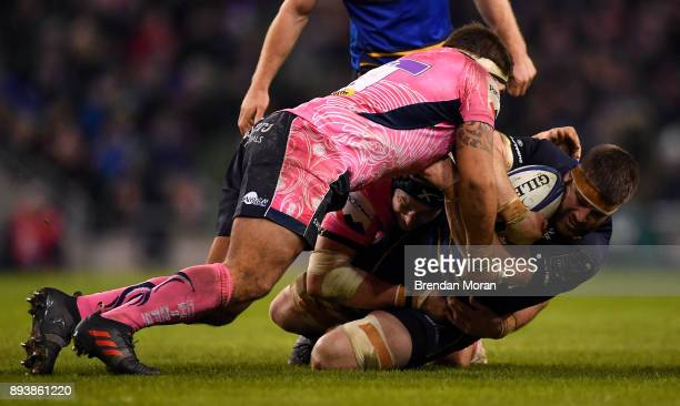 Dublin Ireland 16 December 2017 Sean O'Brien of Leinster is tackled by Ben Moon of Exeter Chiefs during the European Rugby Champions Cup Pool 3 Round...