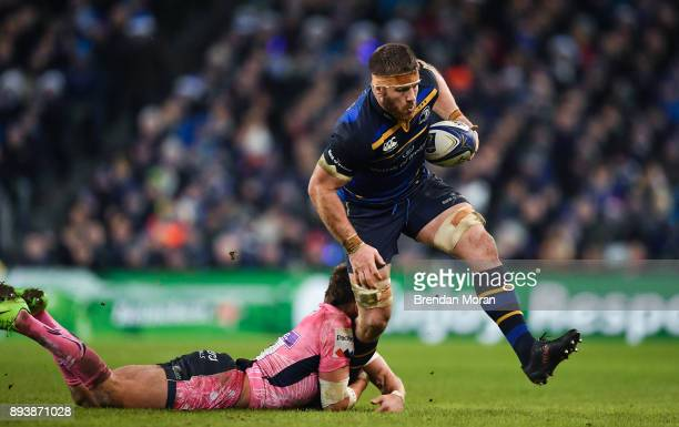 Dublin Ireland 16 December 2017 Sean O'Brien of Leinster is tackled by Henry Slade of Exeter Chiefs during the European Rugby Champions Cup Pool 3...