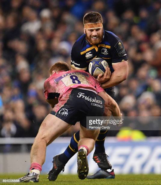 Dublin Ireland 16 December 2017 Sean O'Brien of Leinster is tackled by Sam Simmonds of Exeter Chiefs during the European Rugby Champions Cup Pool 3...