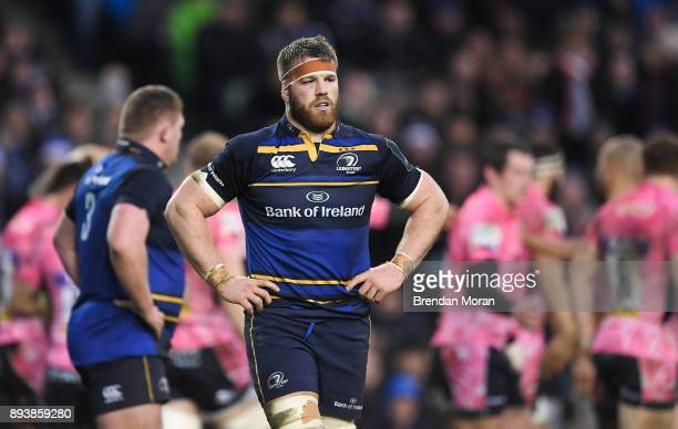 Dublin Ireland 16 December 2017 Sean O'Brien of Leinster reacts after Exeter Chiefs scored their second try during the European Rugby Champions Cup...