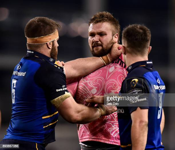 Dublin Ireland 16 December 2017 Tomas Francis of Exeter Chiefs tussles with Sean O'Brien of Leinster during the European Rugby Champions Cup Pool 3...