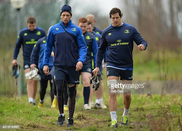 Dublin Ireland 16 January 2017 Zane Kirchner left and Mike McCarthy of Leinster arrive ahead of squad training at UCD in Belfield Dublin