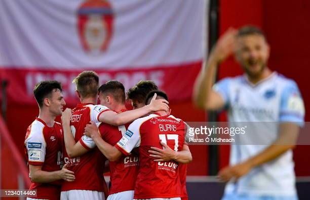 Dublin , Ireland - 16 July 2021; St Patrick's Athletic players celebrate their side's second goal, scored by Robbie Benson, hidden, during the SSE...