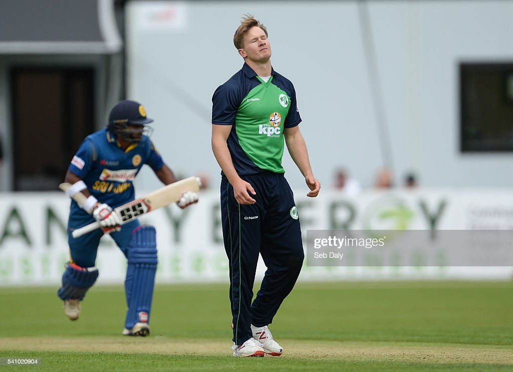 Dublin , Ireland - 16 June 2016; Barry McCarthy of Ireland reacts after seeing Kusal Janith Perera of Sri Lanka hit a delivery for three runs during the One Day International match between Ireland and Sri Lanka at Malahide Cricket Ground in Malahide, Dublin.