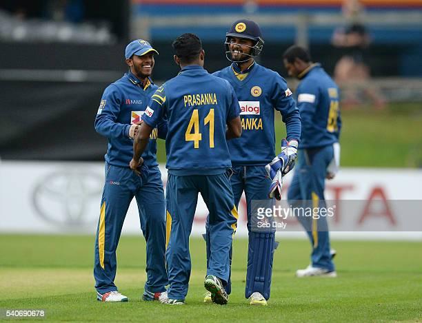 Dublin Ireland 16 June 2016 Sri Lanka players from left to right Kusal Mendis Seekuge Prasanna and Dinesh Chandimal celebrate their team's victory...