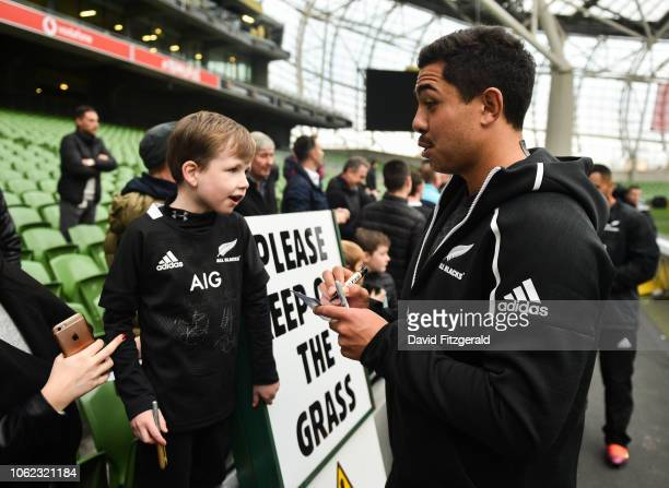 Dublin Ireland 16 November 2018 Anton LienertBrown of New Zealand signs an autograph for Conor Hogan age 6 from Ashbourne Co Meath following the...