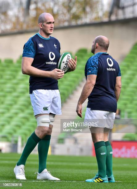 Dublin Ireland 16 November 2018 Devin Toner and Rory Best of Ireland during the Ireland Rugby Captain's Run at the Aviva Stadium in Dublin