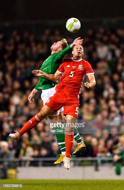 Dublin Ireland 16 October 2018 Aiden O'Brien of Republic of Ireland in action against James Chester of Wales during the UEFA Nations League B group...