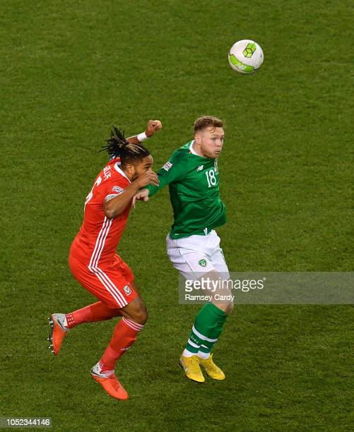 Dublin Ireland 16 October 2018 Aiden O'Brien of Republic of Ireland in action against Ashley Williams of Wales during the UEFA Nations League B group...