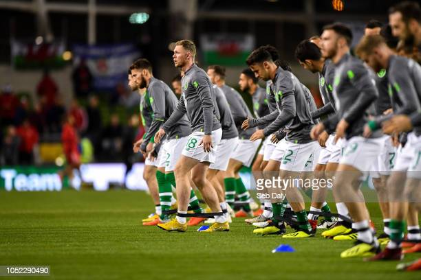 Dublin Ireland 16 October 2018 Aiden O'Brien of Republic of Ireland warms up prior to the UEFA Nations League B group four match between Republic of...