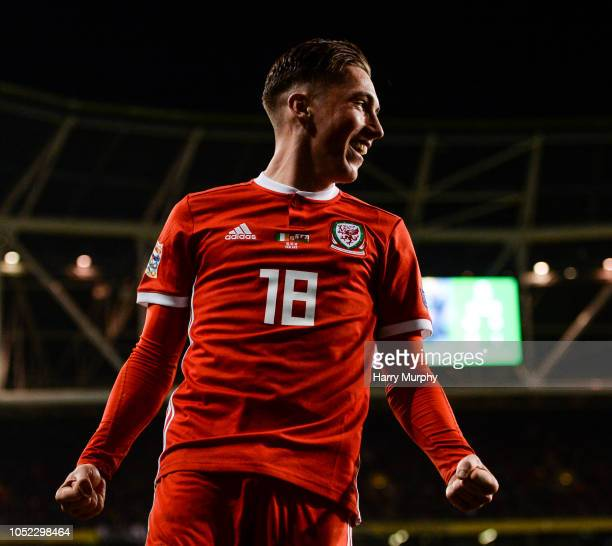 Dublin Ireland 16 October 2018 Harry Wilson of Wales celebrates after scoring his side's first goal during the UEFA Nations League B group four match...