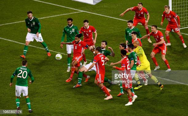 Dublin Ireland 16 October 2018 Players from both teams battle for possession from a corner kick in the final minute of the UEFA Nations League B...