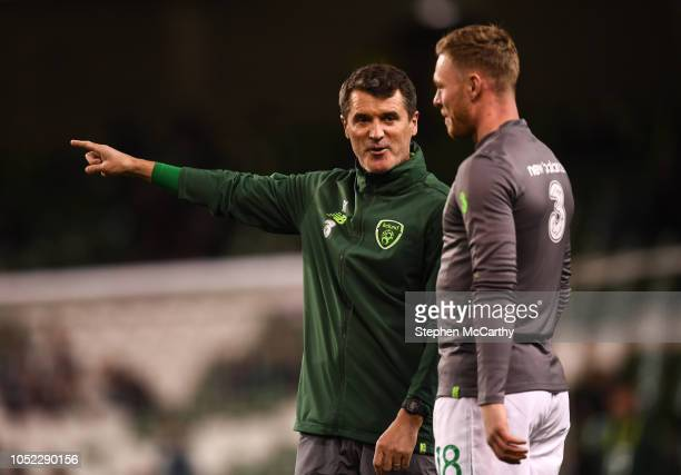 Dublin Ireland 16 October 2018 Republic of Ireland assistant manager Roy Keane and Aiden O'Brien prior to the UEFA Nations League B group four match...
