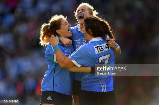 Dublin Ireland 16 September 2018 Dublin players from left Sinéad Finnegan Amy Connolly and Niamh Collins celebrate at the final whistle of the TG4...