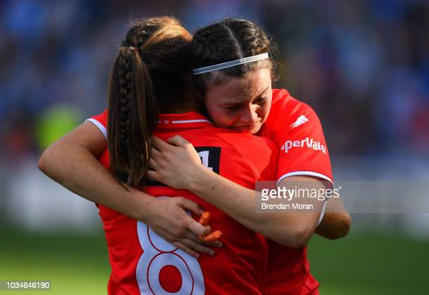Dublin Ireland 16 September 2018 Hannah Looney of Cork is consoled by teammate Ashling Hutchings after the TG4 AllIreland Ladies Football Senior...