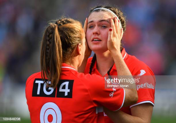 Dublin Ireland 16 September 2018 Hannah Looney of Cork right has tears wiped from her face by teammate Ashling Hutchings the TG4 AllIreland Ladies...