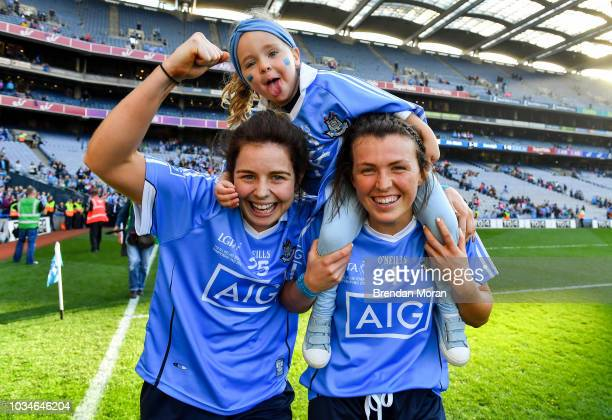 Dublin Ireland 16 September 2018 Katie Murray of Dublin and her niece Evie Evans celebrate with Leah Caffrey right after the TG4 AllIreland Ladies...