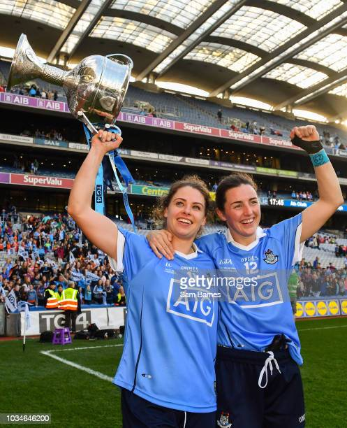 Dublin Ireland 16 September 2018 Noelle Healy and Lyndsey Davey of Dublin celebrate with the Brendan Martin Cup following the TG4 AllIreland Ladies...