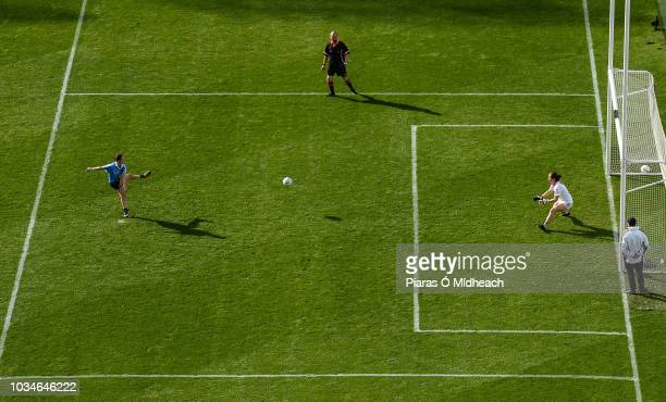 Dublin Ireland 16 September 2018 Sinéad Aherne of Dublin scores her side's first goal from a penalty past Cork goalkeeper Martina O'Brien during the...