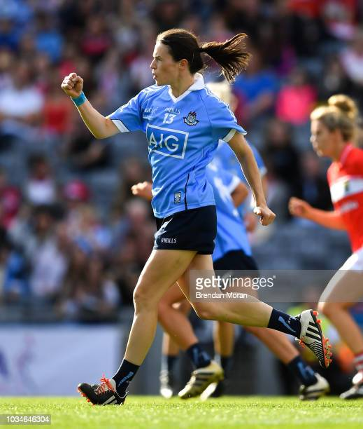 Dublin Ireland 16 September 2018 Sinead Aherne of Dublin celebrates after scoring her side's first goal from a penalty during the TG4 AllIreland...