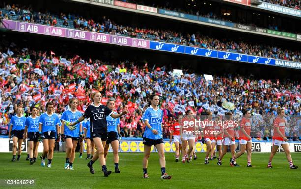 Dublin Ireland 16 September 2018 The teams parade in front of a large crowd prior to the TG4 AllIreland Ladies Football Senior Championship Final...