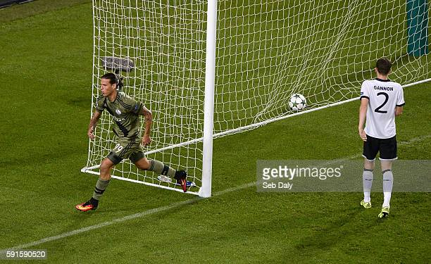 Dublin Ireland 17 August 2016 Aleksandar Prijovi of Leiga Warsaw celebrates after scoring his team's second goal during the UEFA Champions League...
