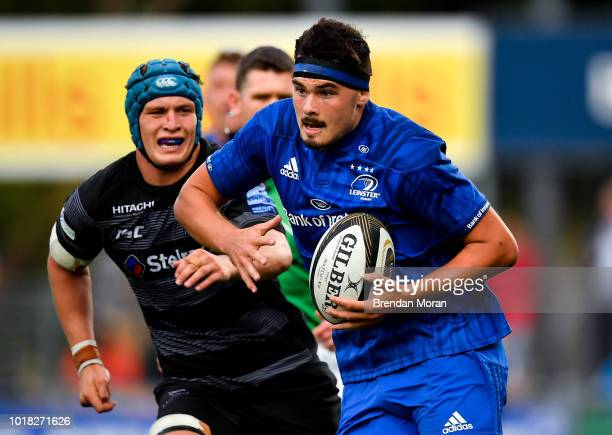 Dublin Ireland 17 August 2018 Max Deegan of Leinster makes a break during the Bank of Ireland Preseason Friendly match between Leinster and Newcastle...