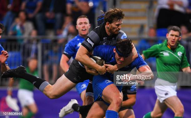 Dublin , Ireland - 17 August 2018; Tom Daly of Leinster is tackled by Alex Tait of Newcastle Falcons during the Bank of Ireland Pre-season Friendly...