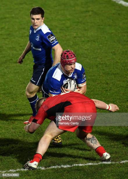 Dublin Ireland 17 February 2017 Josh van der Flier of Leinster is tackled by Murray McCallum of Edinburgh during the Guinness PRO12 Round 15 match...
