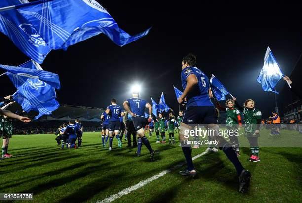 Dublin Ireland 17 February 2017 Mike McCarthy of Leinster runs out ahead of the Guinness PRO12 Round 15 match between Leinster and Edinburgh at the...