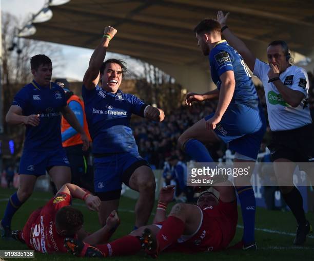 Dublin Ireland 17 February 2018 James Lowe of Leinster centre celebrates after scoring his side's second try during the Guinness PRO14 Round 15 match...