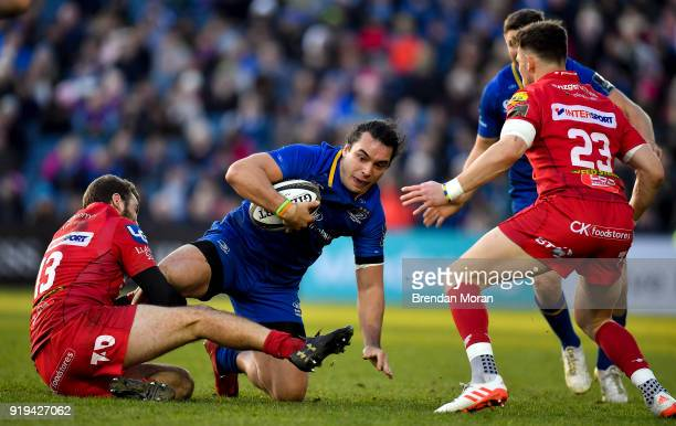 Dublin Ireland 17 February 2018 James Lowe of Leinster is tackled by Paul Asquith of Scarlets during the Guinness PRO14 Round 15 match between...