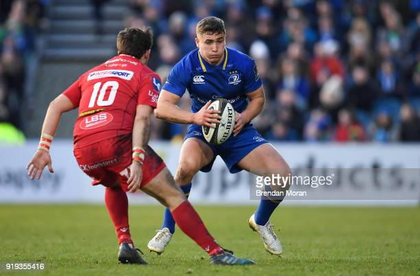 Dublin Ireland 17 February 2018 Jordan Larmour of Leinster in action against Dan Jones of Scarlets during the Guinness PRO14 Round 15 match between...
