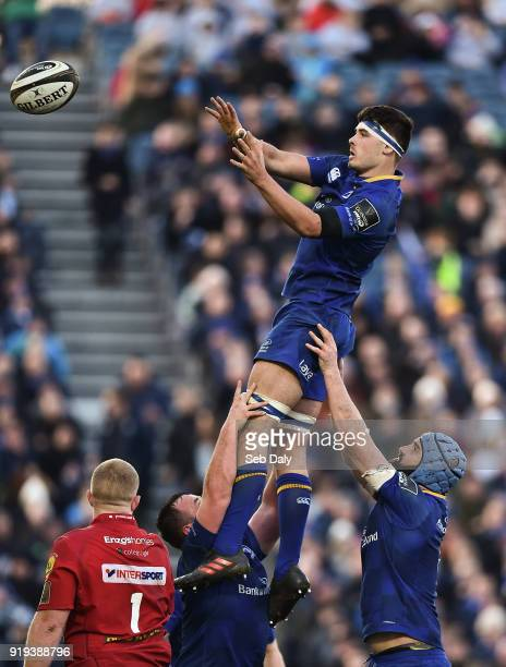 Dublin Ireland 17 February 2018 Max Deegan of Leinster wins a lineout during the Guinness PRO14 Round 15 match between Leinster and Scarlets at the...