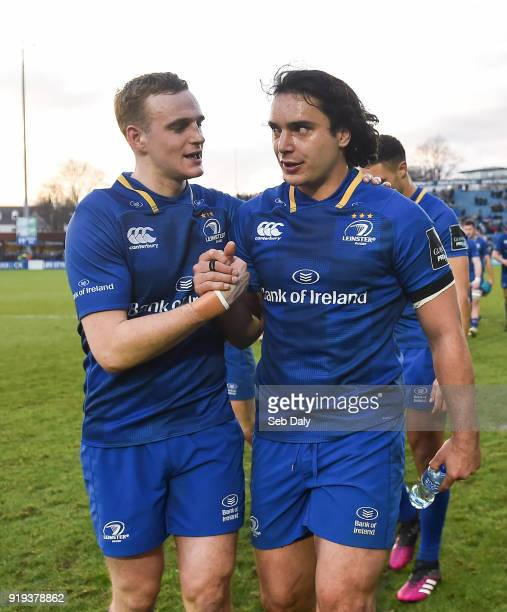 Dublin Ireland 17 February 2018 Nick McCarthy left and James Lowe of Leinster following their side's victory during the Guinness PRO14 Round 15 match...