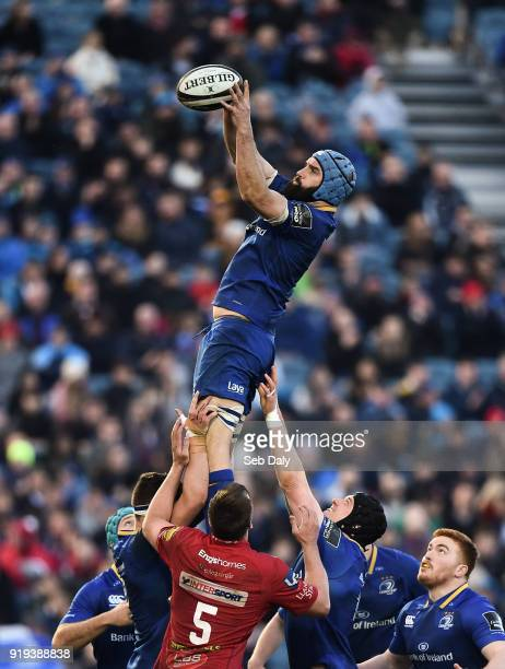 Dublin Ireland 17 February 2018 Scott Fardy of Leinster wins a lineout during the Guinness PRO14 Round 15 match between Leinster and Scarlets at the...