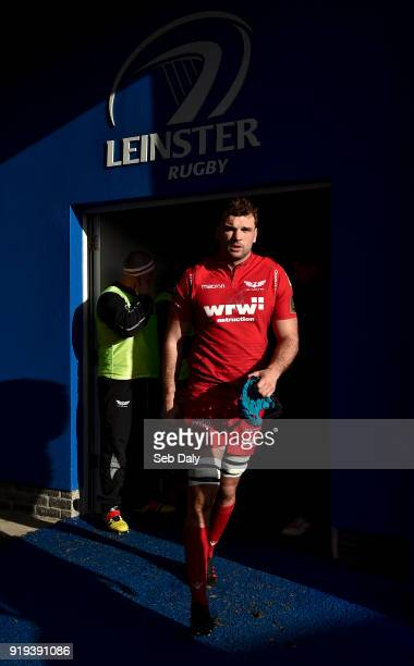 Dublin Ireland 17 February 2018 Tadhg Beirne of Scarlets makes his way to the field prior to the Guinness PRO14 Round 15 match between Leinster and...