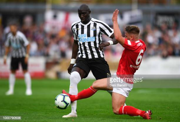 Dublin Ireland 17 July 2018 Mohamed Diame of Newcastle United is tackled by Conor Clifford of St Patrick's Athletic during the friendly match between...