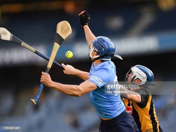 Dublin , Ireland - 17 July 2021; Paul Crummey of Dublin and Huw Lawlor of Kilkenny during the Leinster GAA Senior Hurling Championship Final match...