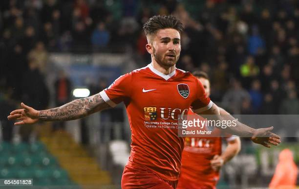 Dublin Ireland 17 March 2017 Sean Maguire of Cork City celebrates after scoring his side's second and winning goal during the SSE Airtricity League...