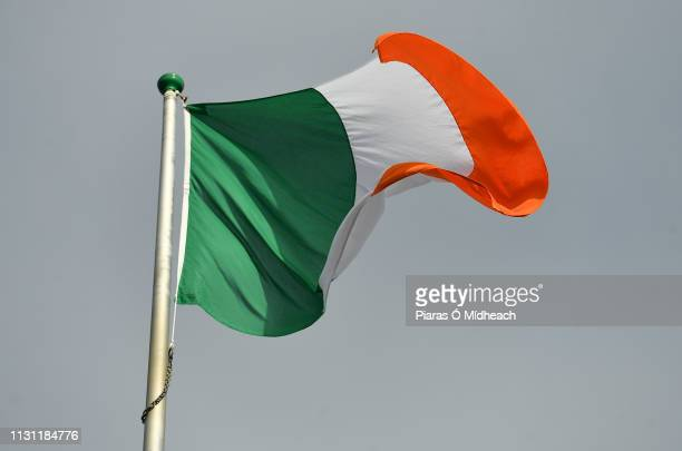 Dublin Ireland 17 March 2019 The Irish tricolour flying at Croke Park ahead of the AIB GAA Hurling AllIreland Senior Club Championship Final match...